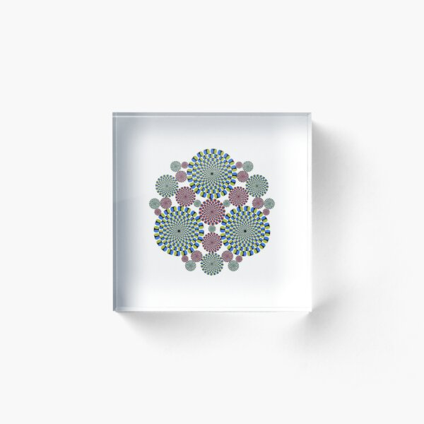 #abstract, #decoration, #pattern, #flower, #illustration, art, circular, design, lace, ornate, color image, circle, geometric shape, textured Acrylic Block