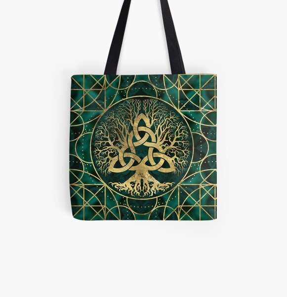 Tree of life with Triquetra Malachite and Gold All Over Print Tote Bag