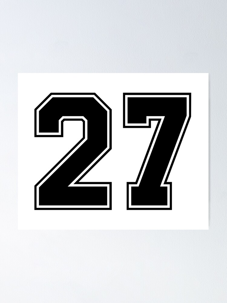 27 American Football Classic Vintage Sport Jersey Number in black number on white background for american football, baseball or basketball | Poster