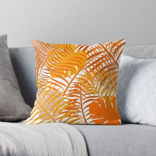 Gebranntes orangefarbenes tropisches Blattmuster Dekokissen