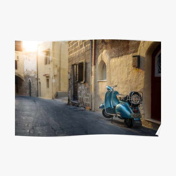 Vespa In The Old Town Poster