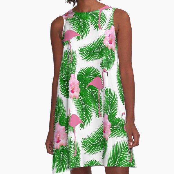 Tropical floral flamingo A-Line Dress