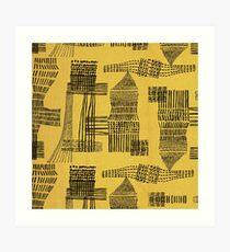 Yellow Abstract Minimalist Pattern Vintage Art Print