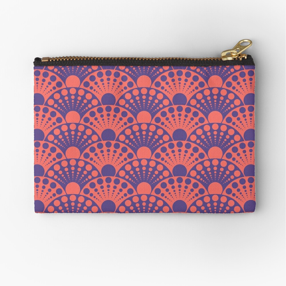 living coral and ultra violet art deco inspired fan pattern Zipper Pouch