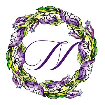 iris floral Letter N - uppercase Alphabet, Monogram, Initial  by ArtOlB