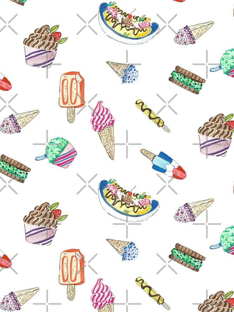 Hand Painted Watercolor Ice Cream - Pattern and Stickers by annieparsons