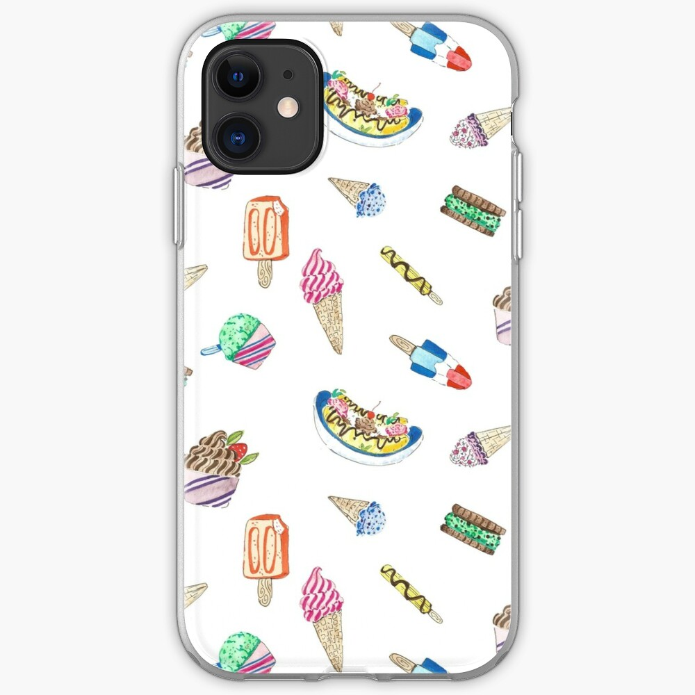 Hand Painted Watercolor Ice Cream - Pattern and Stickers iPhone Case & Cover