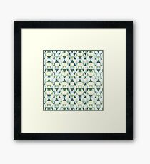 Geometric Blue and Green Triangles Repeating Artwork Framed Print
