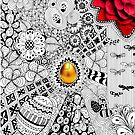 Golden Egg Spring Tangle Drawing by julieerindesign