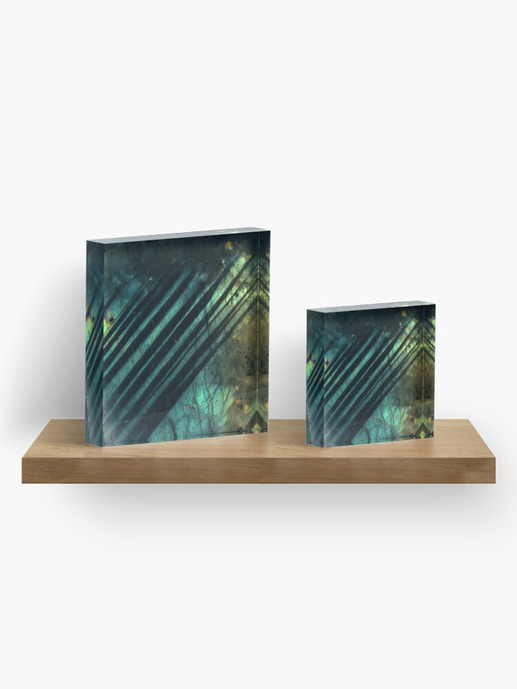 Alternate view of Labradorite crystal geode Acrylic Block