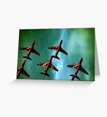 Red Arrows, Green Sky Greeting Card