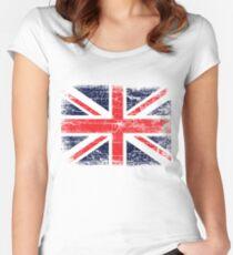 Vintage UK British Flag design Women's Fitted Scoop T-Shirt
