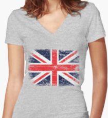Vintage UK British Flag design Women's Fitted V-Neck T-Shirt