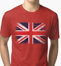 Vintage UK British Flag design Tri-blend T-Shirt