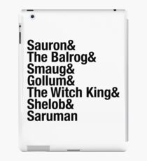 J.R.R Tolkiens Lord Of The Rings  / Hobbit - Villains Typography list iPad Case/Skin