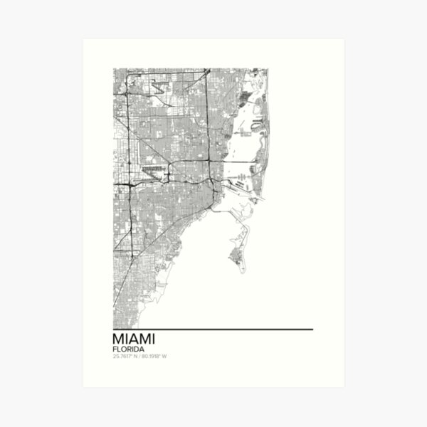 Miami map poster print wall art, Florida gift printable, Home and Nursery, Modern map decor for office, Map Art, Map Gifts Art Print