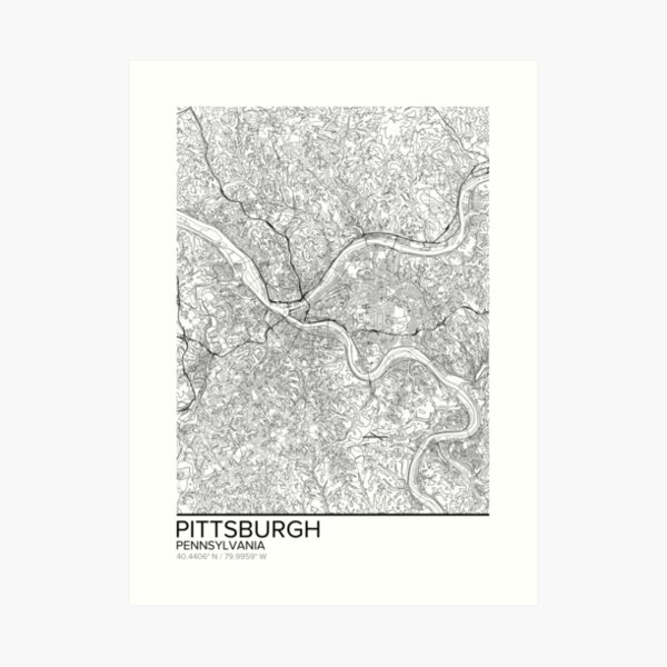 Pittsburgh map poster print wall art, Pennsylvania gift printable, Home and Nursery, Modern map decor for office, Map Art, Map Gifts Art Print