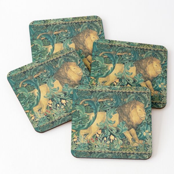 GREENERY ,FOREST ANIMALS, LION Antique Tapestry Coasters (Set of 4)