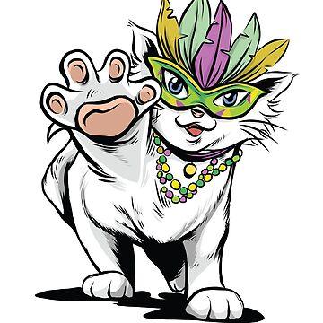 Mardi Gras cat kitten gift cat lover by Rueb