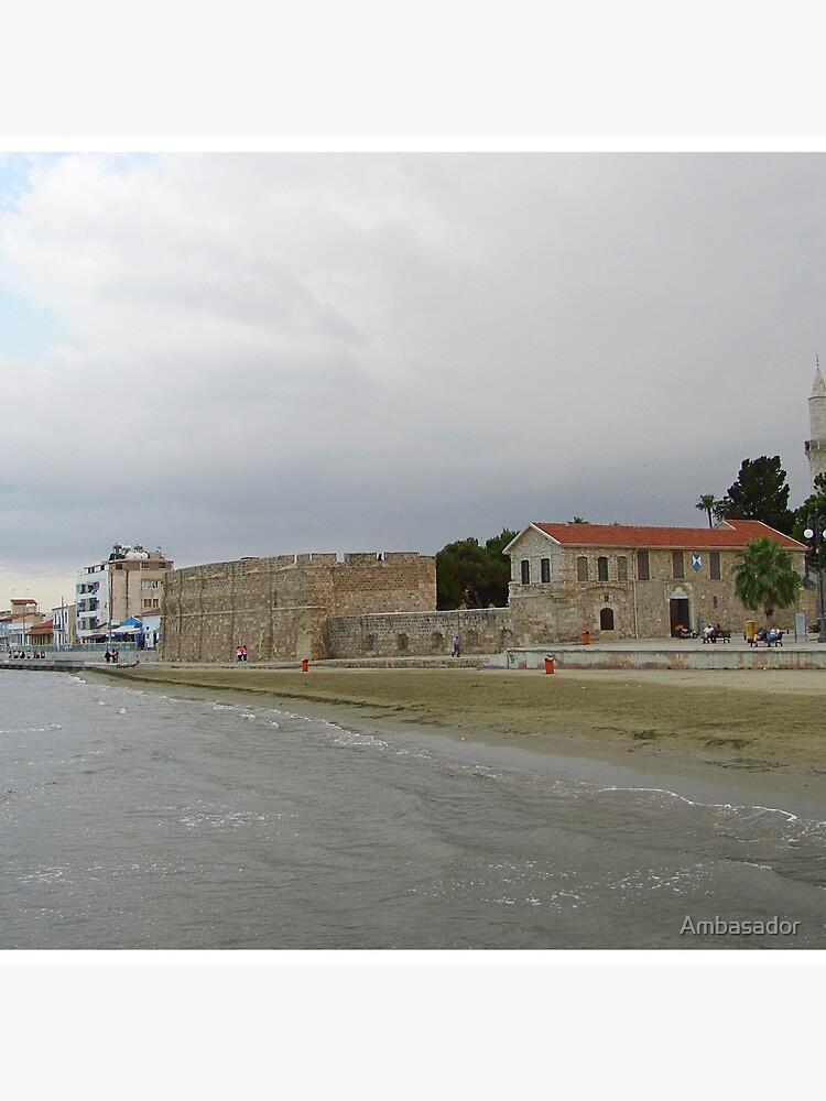 Larnaca's Finikoudes beach view with historical medieval fort by Ambasador