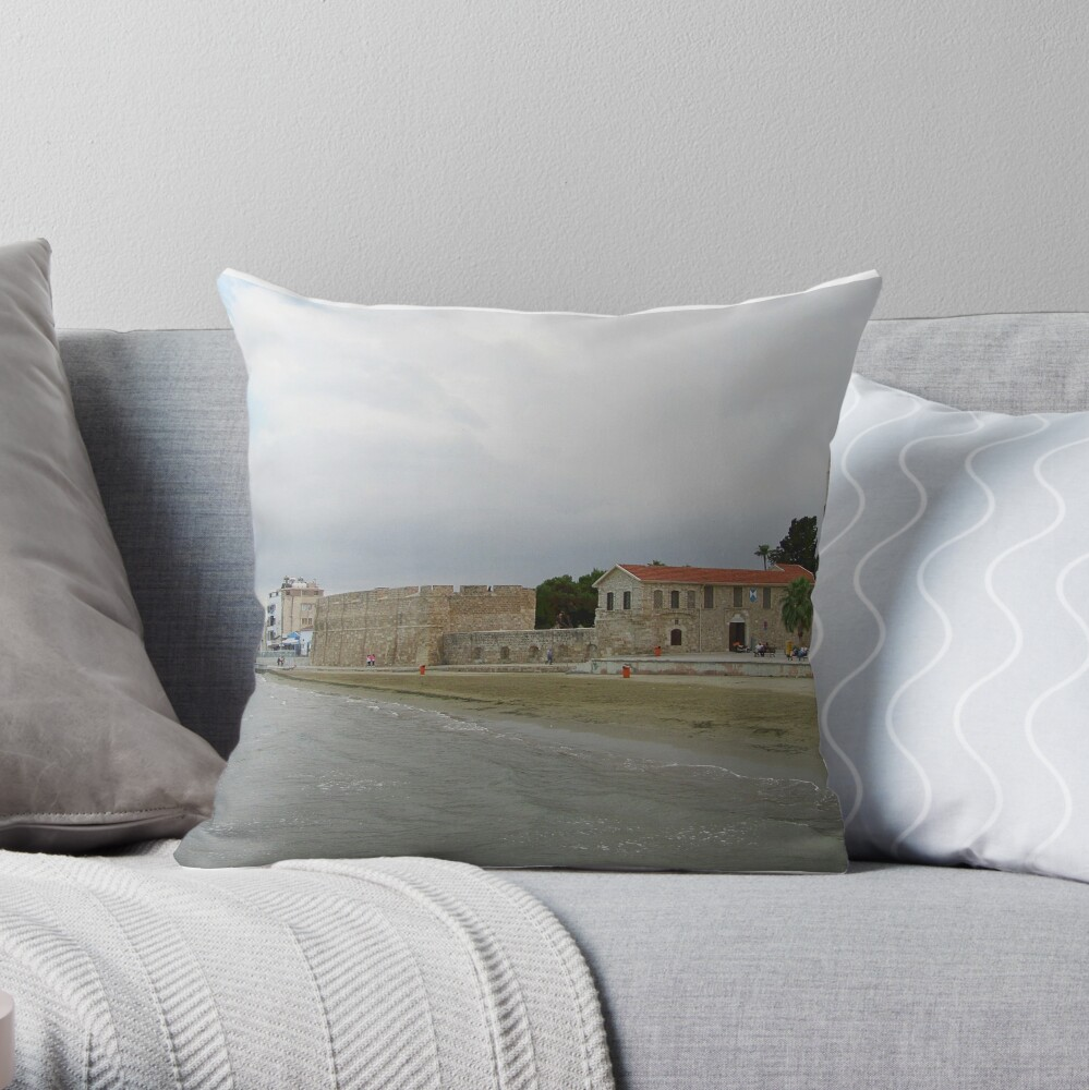 Larnaca's Finikoudes beach view with historical medieval fort Throw Pillow
