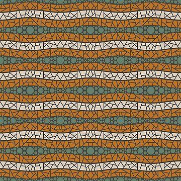 Mosaic Wavy Stripes in Burnt Orange, Olive and Cream by MelFischer