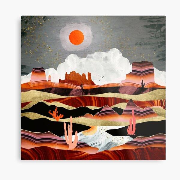 Coral Desert Lake Metal Print