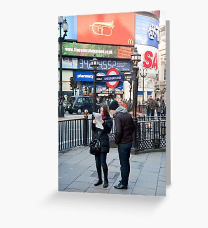 Lost in Piccadily Circus: London. UK. Greeting Card