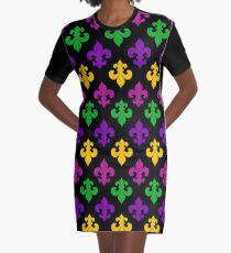 Mardi Gras Fleur de Lis Graphic T-Shirt Dress