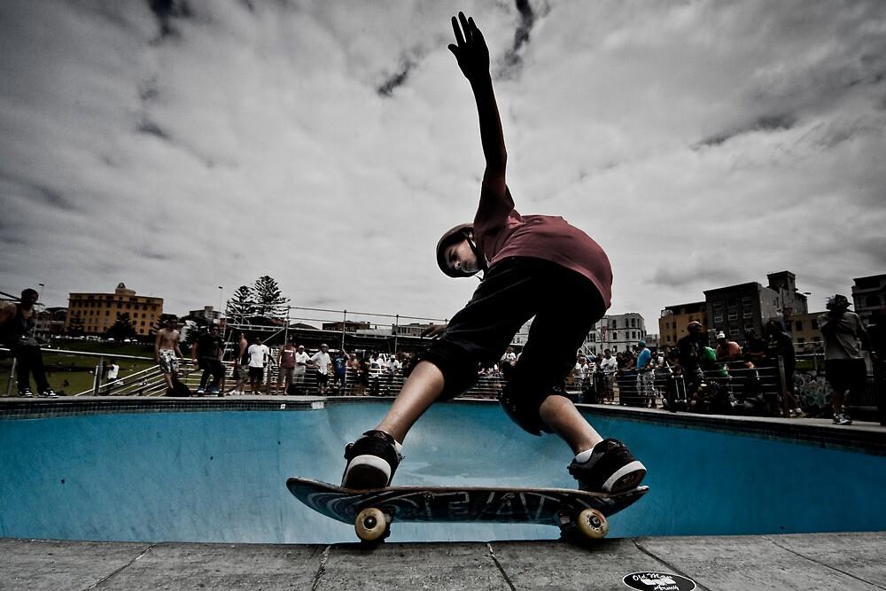Skateboarder in Bondi Bowl by Martin K. Lee
