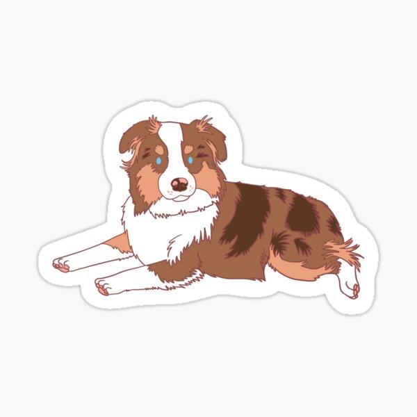 Red Merle Mini Aussie Glossy Sticker