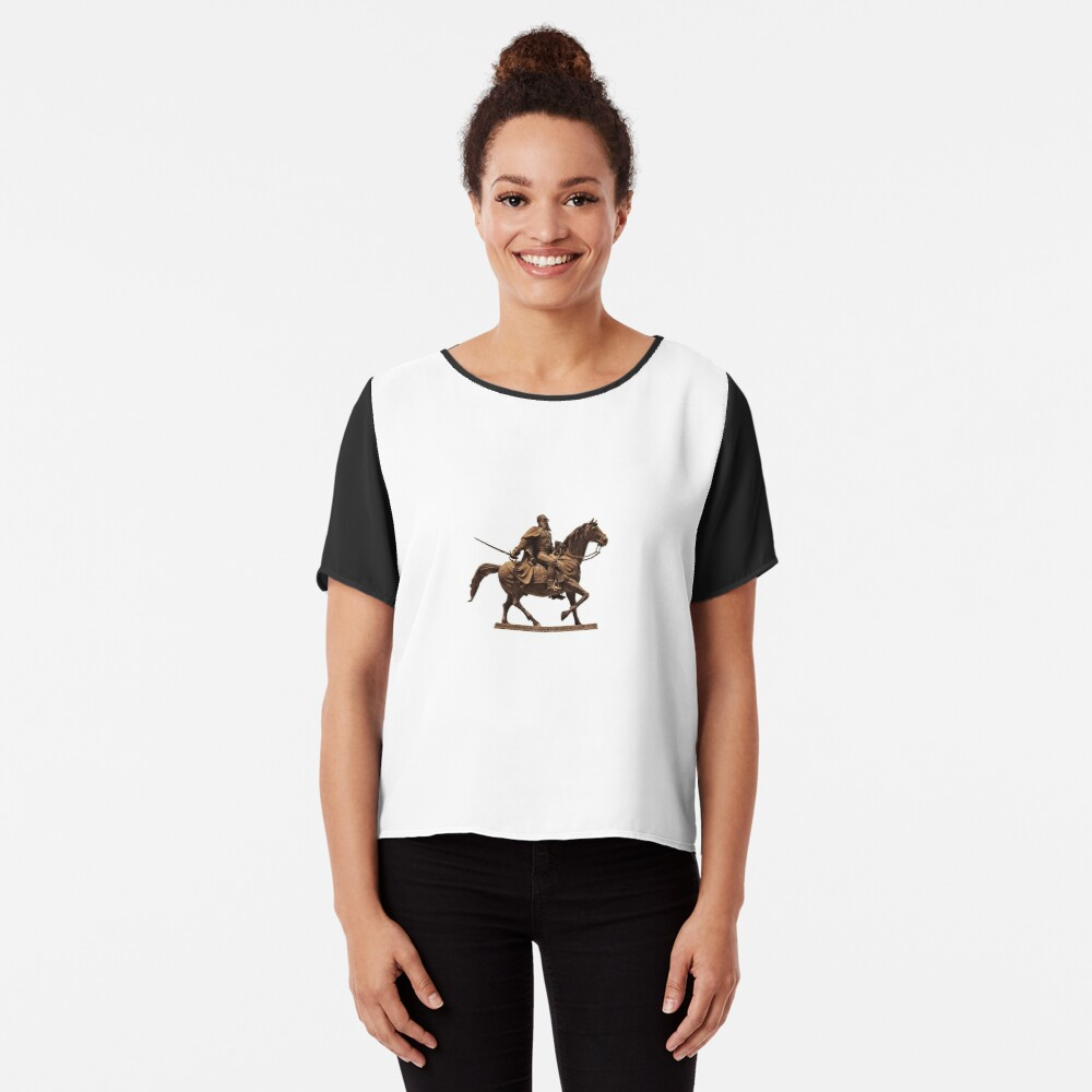 #sculpture, #cavalry, #statue, #mammal, #art, metalwork, ancient, horizontal, color image, sitting, horse, equestrian event, day, old, animal Chiffon Top