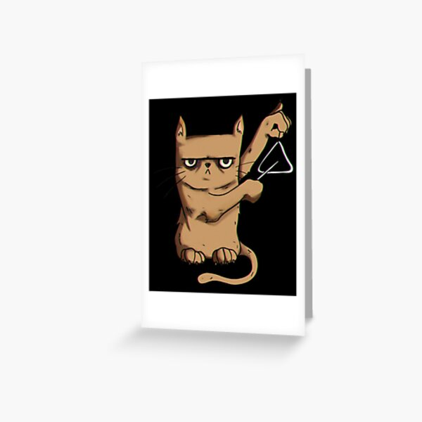 Triangel Cat, gift grumpy music musical instrument Greeting Card