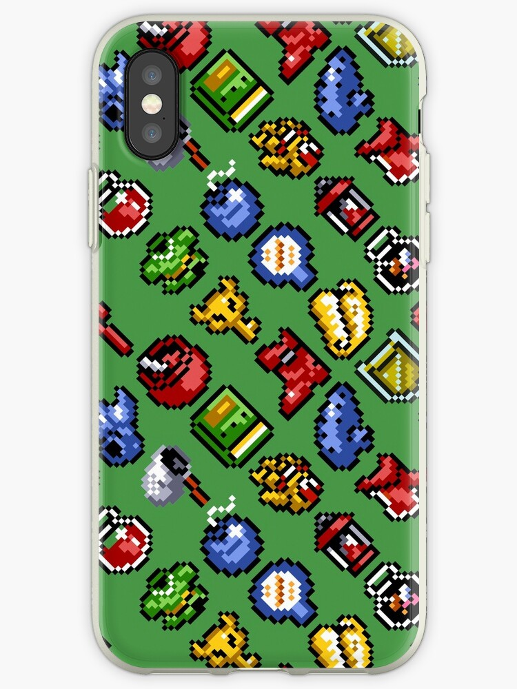 'Legend of Zelda: A Link to the Past funny items pattern (g)' iPhone Case  by danteartist