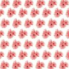 Pink wattle blossom pattern by Emilie Otto