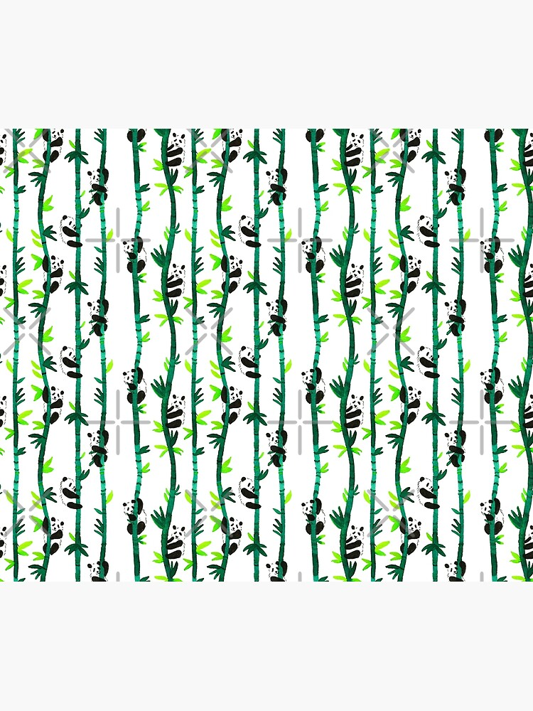 Hand Painted Watercolor Pattern - Pandas on Bamboo by annieparsons