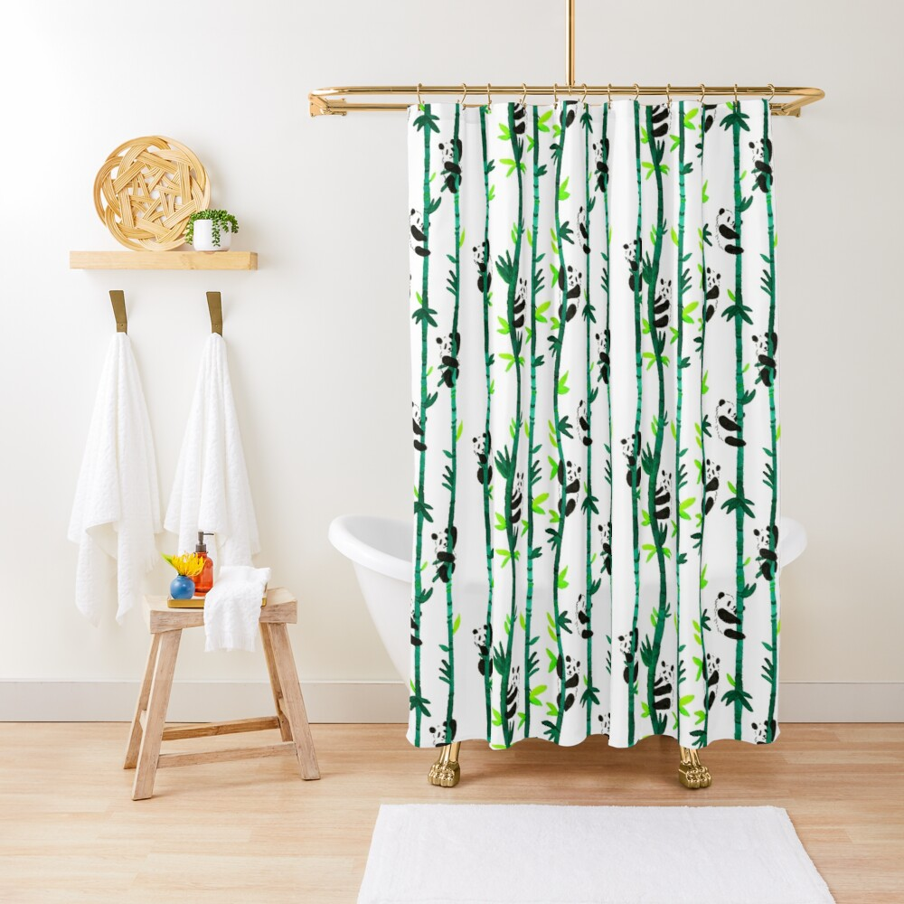 Hand Painted Watercolor Pattern - Pandas on Bamboo Shower Curtain