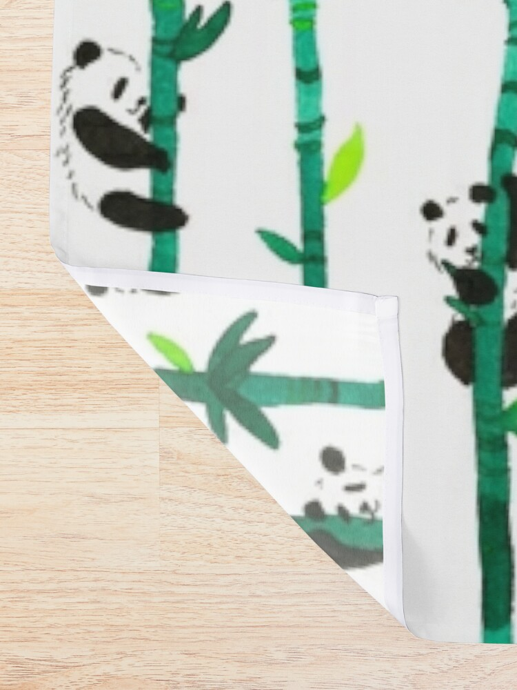 Alternate view of Hand Painted Watercolor Pattern - Pandas on Bamboo Shower Curtain