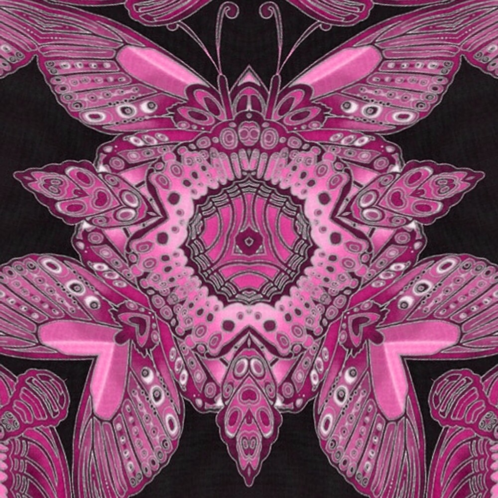 Pink and Black Abstract Butterfly Wings Pattern by HavenDesign