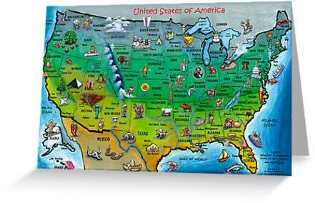 USA Cartoon Map CARD Greeting Cards By Kevin Middleton Redbubble - Usa map cartoon