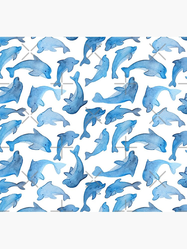 Hand Painted Watercolor Pattern - Pod Goals - Blue Dolphins by annieparsons