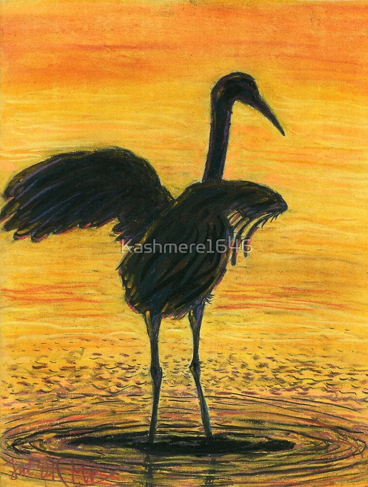 Crane Bathing In Gold by Kashmere1646