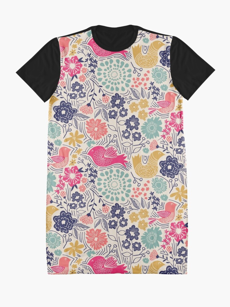 Alternate view of Folk Birds Graphic T-Shirt Dress