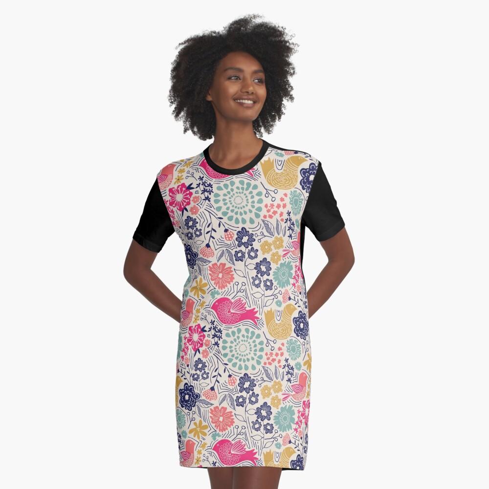 Folk Birds Graphic T-Shirt Dress