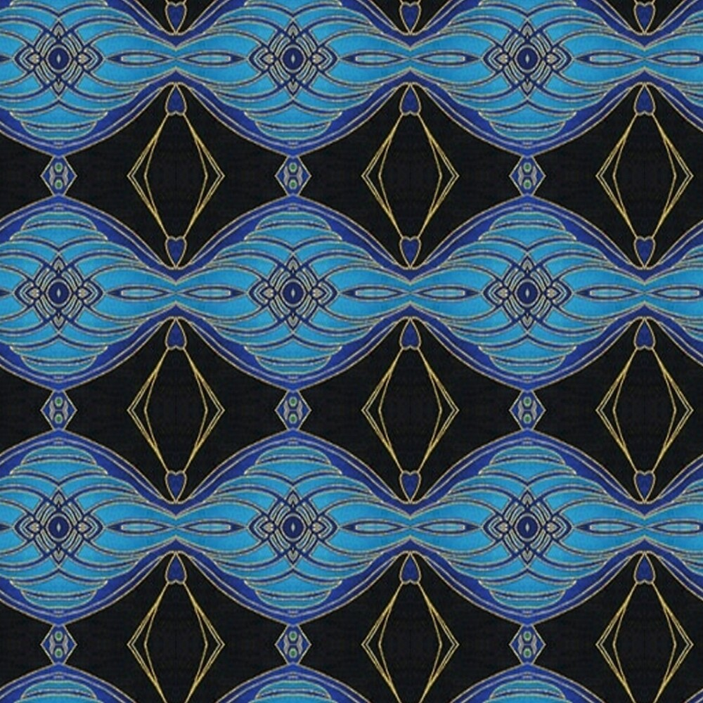 Teal and Black Abstract Diamond Floral Pattern by HavenDesign