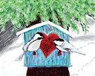 Chickadees Love in Winter by melasdesign