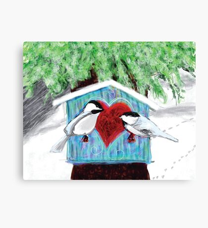 Chickadees Love in Winter Canvas Print