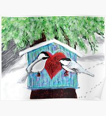 Chickadees Love in Winter Poster