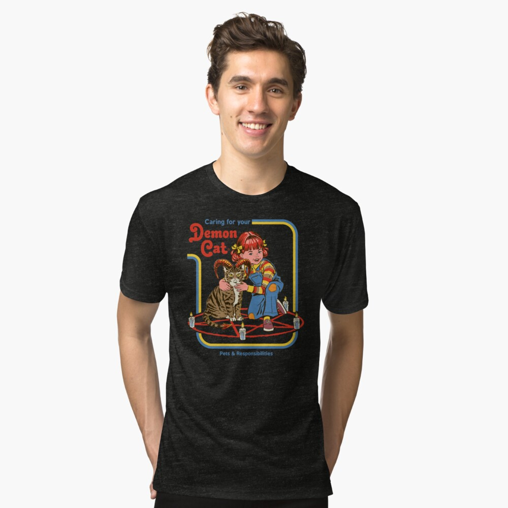 Caring For Your Demon Cat Tri-blend T-Shirt