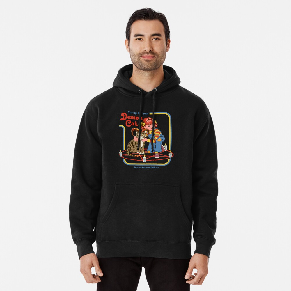 Caring For Your Demon Cat Pullover Hoodie